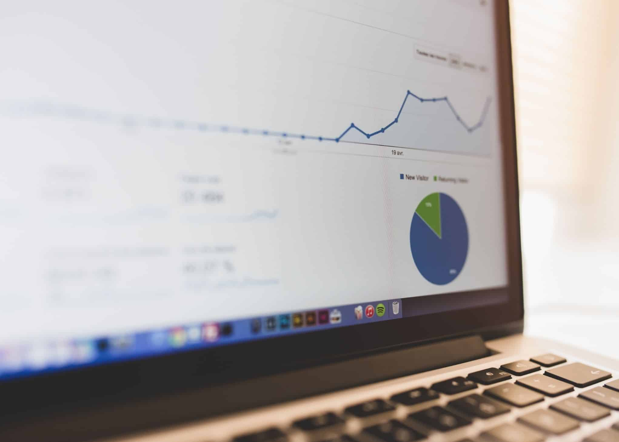 A Close Look At Digital Marketing Stats on a Laptop